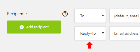 Choose Reply-To in the first select menu