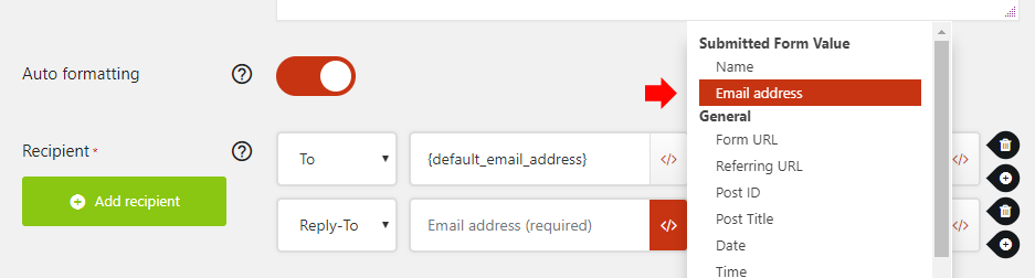 Insert the email field variable
