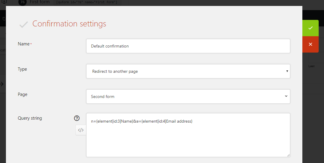 Redirect to the second form with query string data