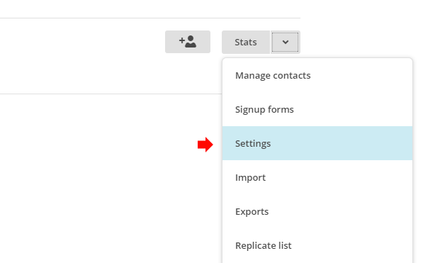 Go to the settings for the MailChimp list
