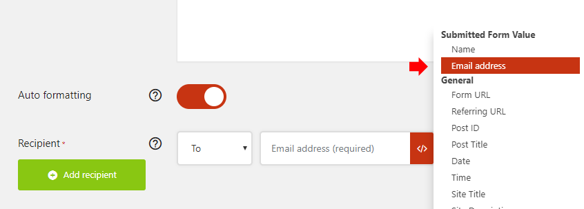 Insert the email variable