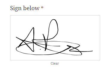 An example of the signature field