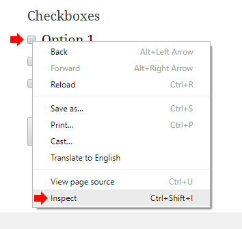 Right click on the checkbox and click Inspect