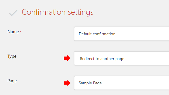 Set Type to Redirect to another page, then choose the Page