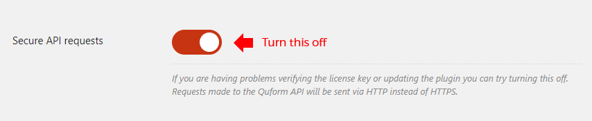 Turn off Secure API requests