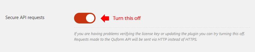 Turn off Secure API requests