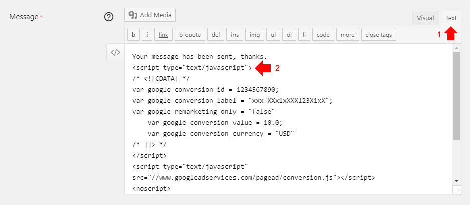 Go to the text tab and insert AdWords code