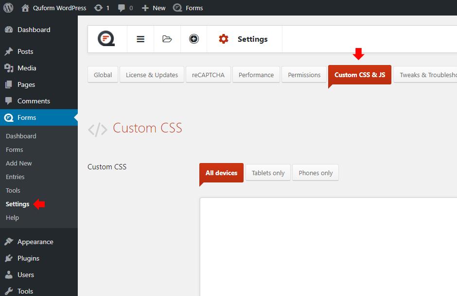 Go to Settings - Custom CSS & JS