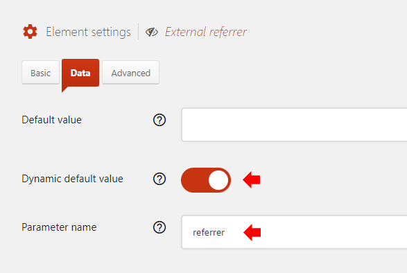 Enable Dynamic default value with Parameter name referrer
