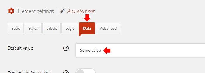 Go to the Data tab and enter default value