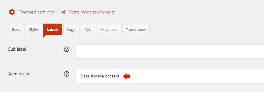 Set GDPR consent admin label