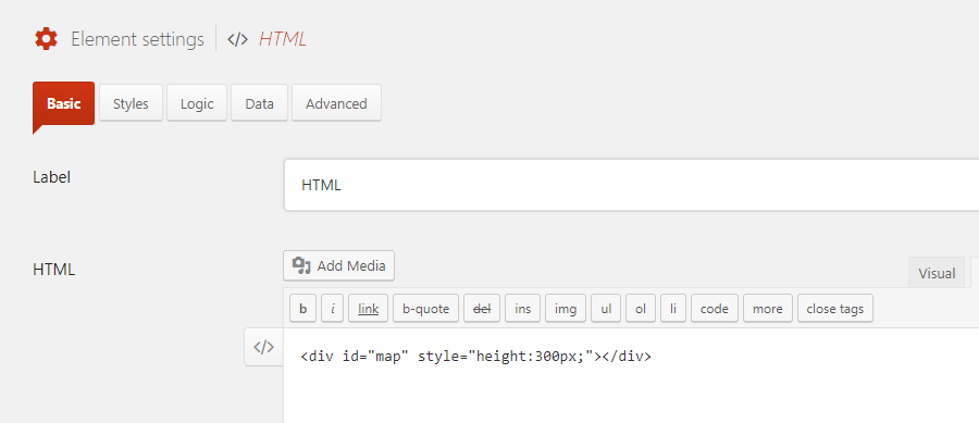 Add an HTML element for the Google Map