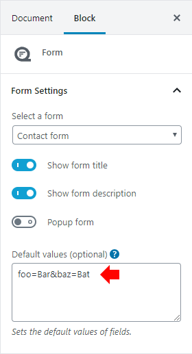 Default values block settings
