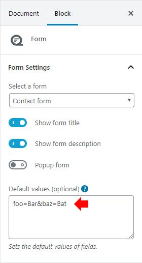 Default values block settings