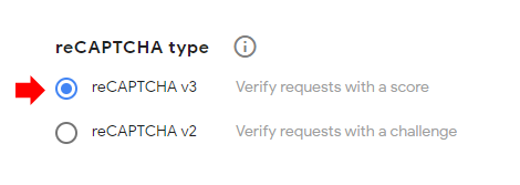 Choose reCAPTCHA Type v3