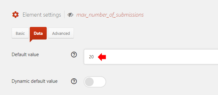 Set the Default value to the maximum number of entries