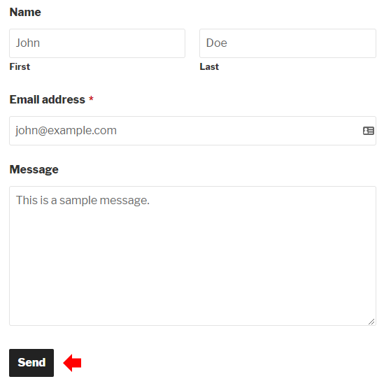 Submit the form with sample data