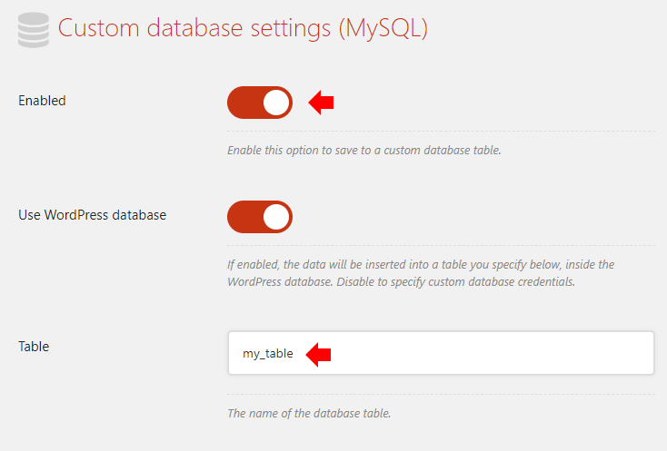 Enable database saving