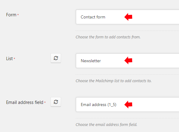 Configure the Form, List and Email address field