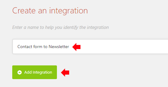 Enter a name for the integration and click Add Integration