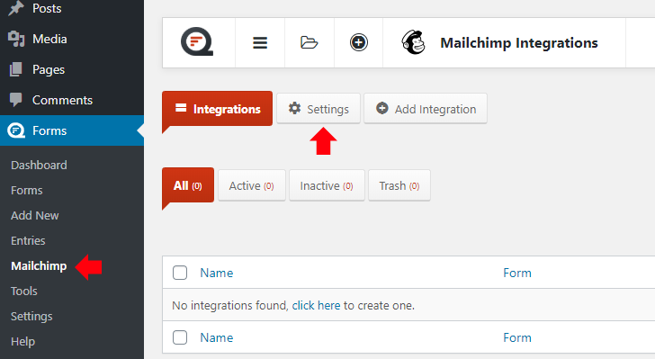 Go to Forms Mailchimp then settings page
