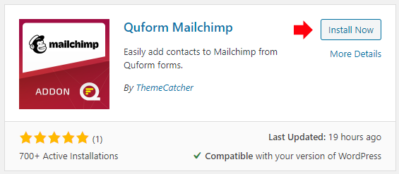 Install the Quform Mailchimp plugin