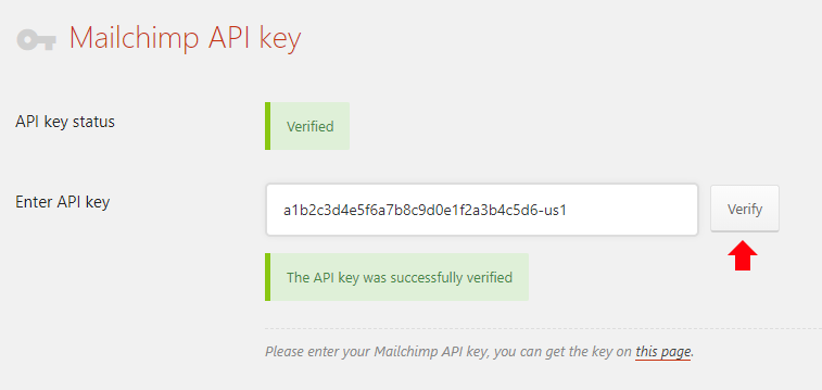 Paste your API key and click Verify