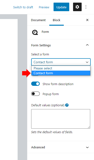 Select a form in the block settings